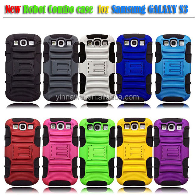 Deluxe Silicone Robot Bracket Shell Case Cover for Samsung Galaxy S3 i9300