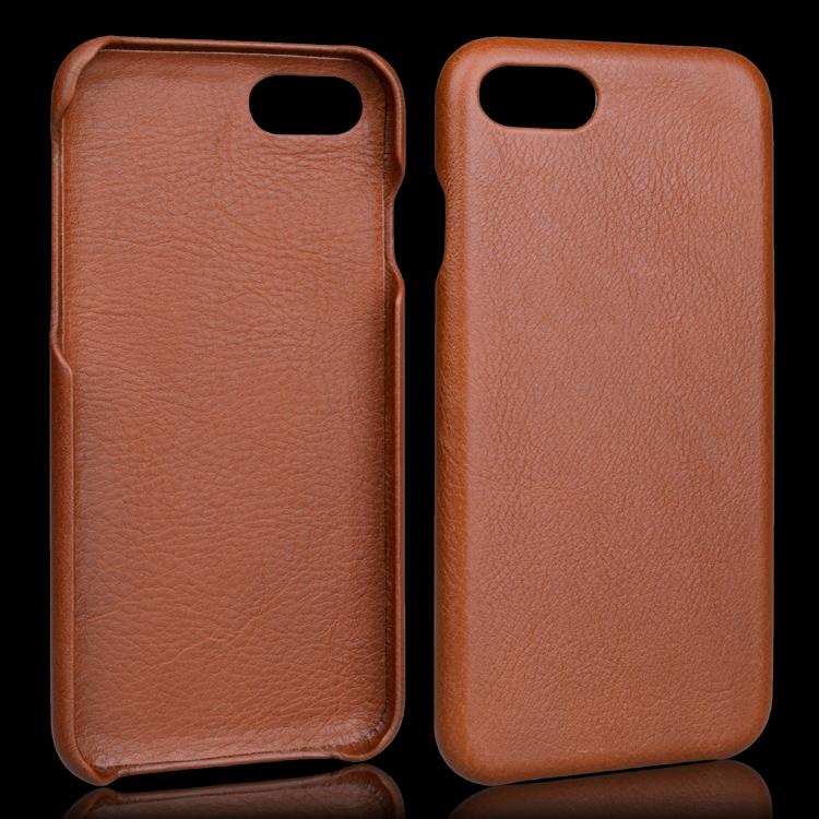 2017 New Design Mobile Phone Case for Iphone7 Genuine Leather Case, Full Cover Brown Back Case
