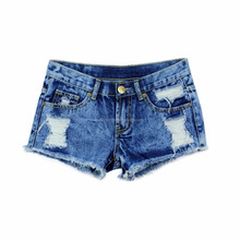 Women Denim Shorts Solid Blue Short Jeans Hole Style Summer Shorts