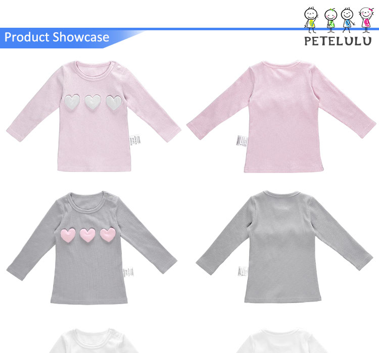 Guangdong Customized Heart Decorated Rib Cotton Girls Kids Winter Sweater