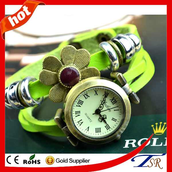 In stock Items 5colors New Style Hand Knit Wrap Leather With Metal Beads Flower Bracelet Vintage Women Wrist Watches