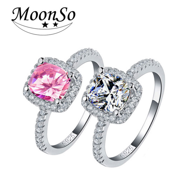 New Cushion Cut 925 Sterling Silver Jewelry Wedding Engagement Pink Sapphire CZ Diamond Ring For Women AR820S