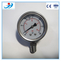 50MM stainless steel case bottom mounting type oil filled pressure gauge for customized pressure range -30 to 300psi