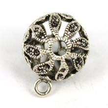 P3996 Fashion Jewelry Wholesale Antique Silver Metal Round Ball Shape Beads Exquisite Charm Brass Pendant