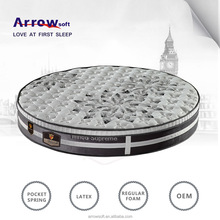 Hot sell pocket spring used round bed mattress with memory foam for sale