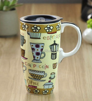 Promotional personalized ceramic travel coffee mug with lid