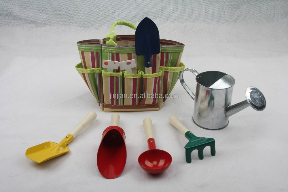 kids garden tote and tools and watering can set