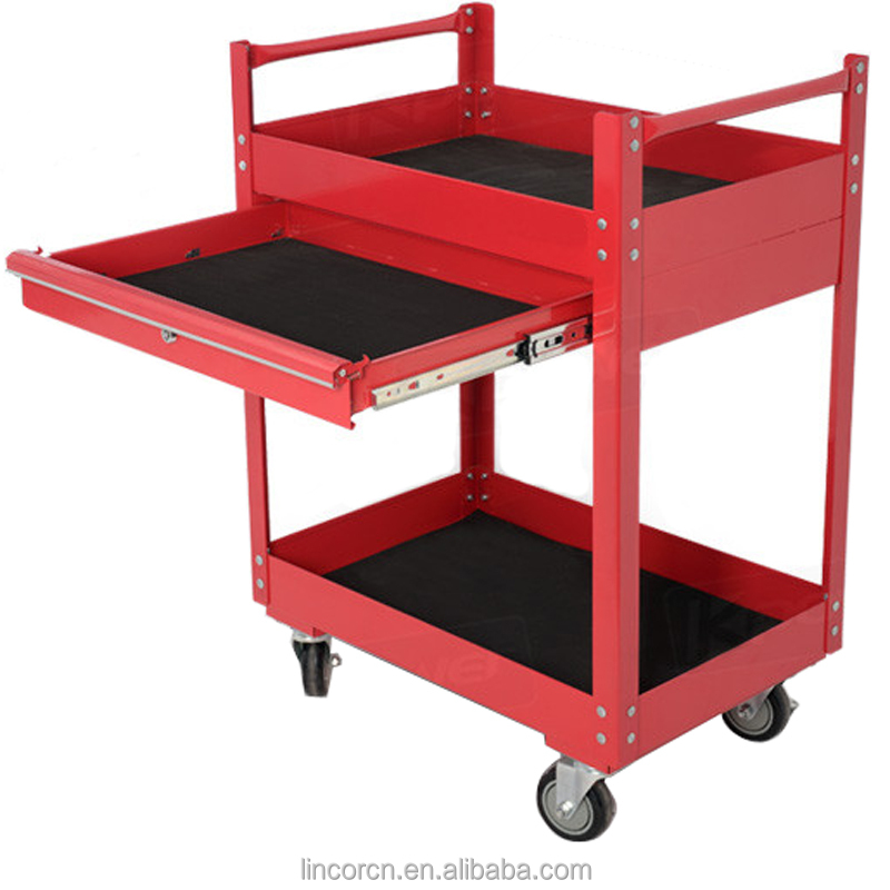 Double Layers cheap metal Power coating car repairing shop mobile Tool Trolley Cart