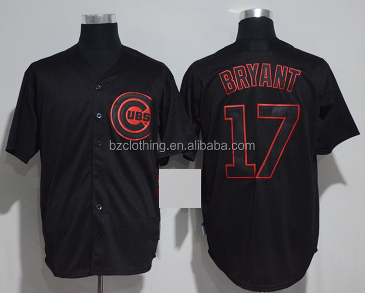 Chicago Cubs Kris Bryant #17 Black Cool Base Jersey