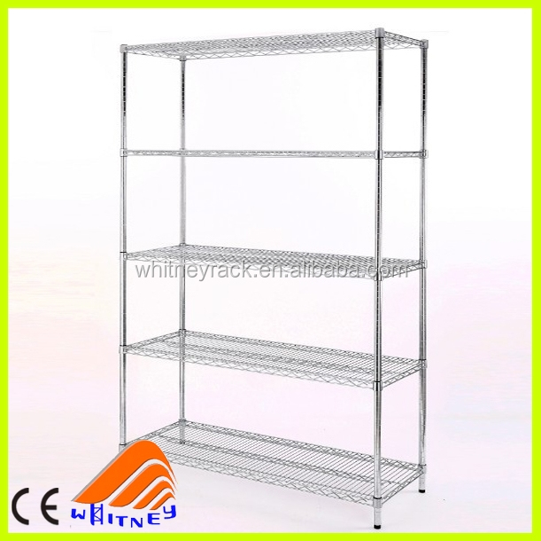 5 tier chrome shelving unit,adjustable steel shelving,Snack retail display wire rack