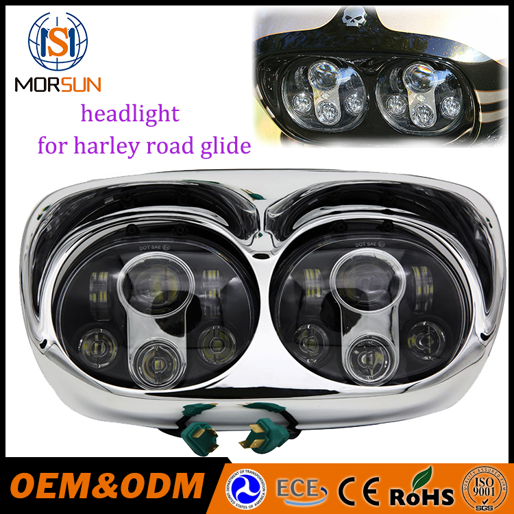Black Dual LED Front Lights Motorcycle Projector Day Maker LED Headlight for 2004~2013 H-arley David-son Road Glide