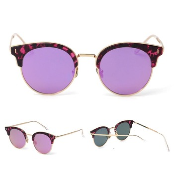 Wholesale Fashion Metal Frame Unisex Round  Sunglasses Colorful pin Glasses