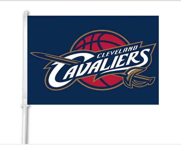 "Cleveland Cavaliers car window flag double sided digital print with 50cm pole Golden State Warriors The City banners- 12""x18"""