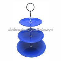 blue decal 3-tier glass cake serving plate