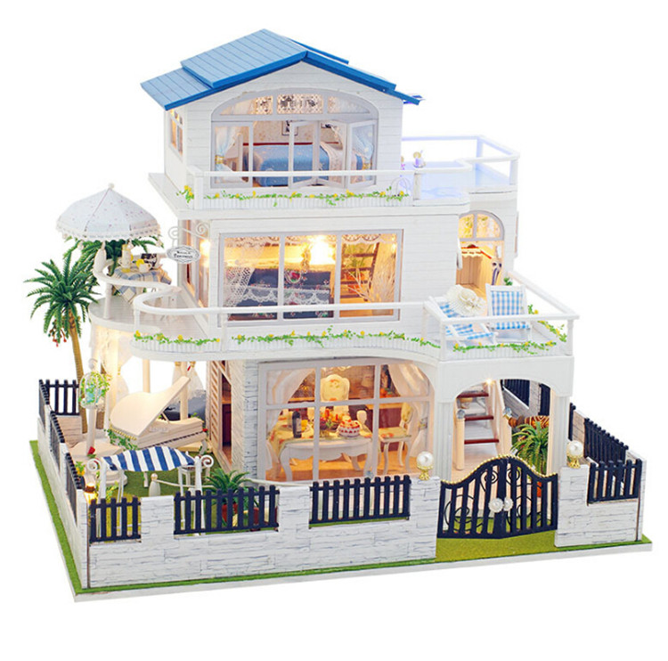 FQ brand wholesale popular kids craft DIY miniature toys house wooden doll house