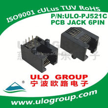 "Modular PCB Jack,RJ11 connectors, 6p6c 6P4C, 6u"" Gold, Black, Side Entry"