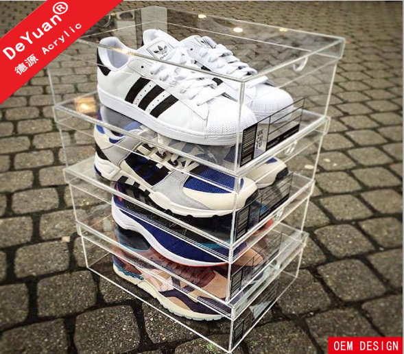 Clear custom size perspex shoe storage box