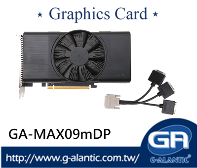 GA-MAX09mDP - functional Graphics Card 9 displays per board GPU temperature 93 degrees Celsius