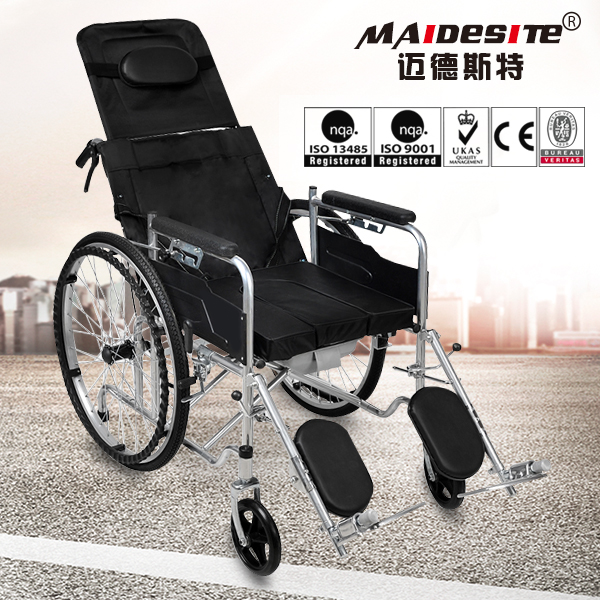 Handicapped manual foldable wheelchair with high back for sale