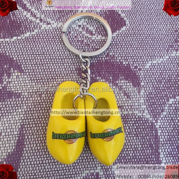 yellow wooden shoe keyring, wood keychain, gift key ring for promotion