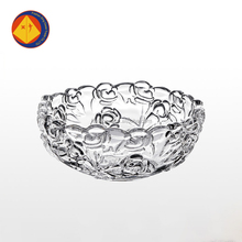 Custom embossed transparent fancy decorative round fruit sugar glass bowl