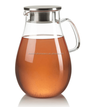 Hot sale 64OZ glass pitcher/hot or cold tea pitcher/teardrop shaped body pitcher