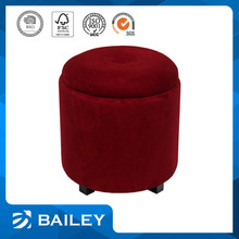 Direct Factory Price Decorative Storage Leather Ottoman Pouf Footstool With Wooden Legs