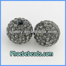 Wholesale 14MM Shamballa Beads Gray Clay Micro Pave Czech Bling Bling Crystal Rhinestone Round Disco Balls For DIY Bracelets