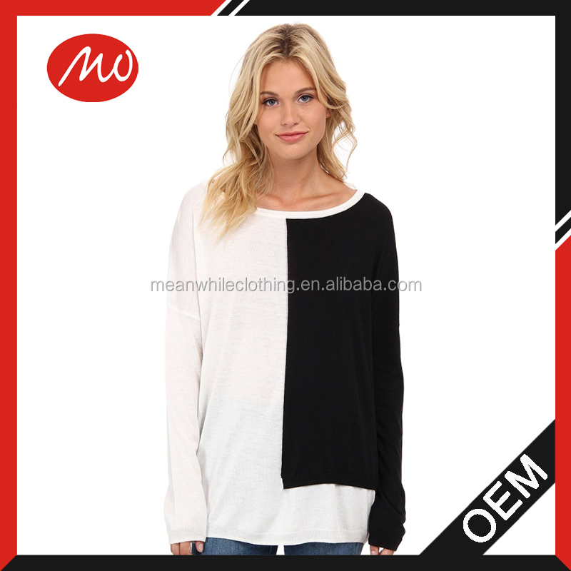 Women's long sleeve placed blocked thin sweater knitting models