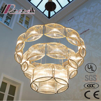 Large Luxury hotel project LED bar crystal chandeliers for villa