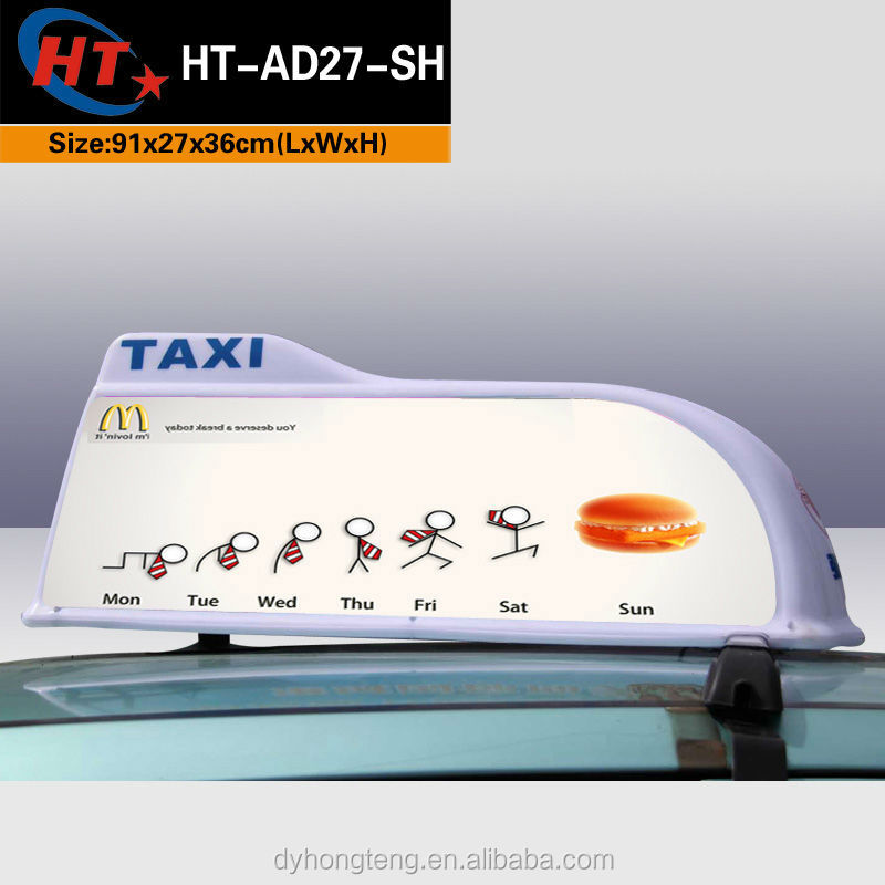 White sharp shape PP plastic led taxi top light box