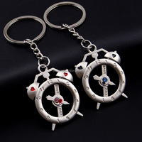 novel promotional item personalized cheap keychains couple love keychains in clock shape with rhinestones