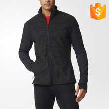 Clothing manufactuers OEM custom brand clothing men plain full zip polyester black sports jacket