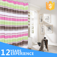 Brilliant stripe patten wholesale ready made polyester shower curtain
