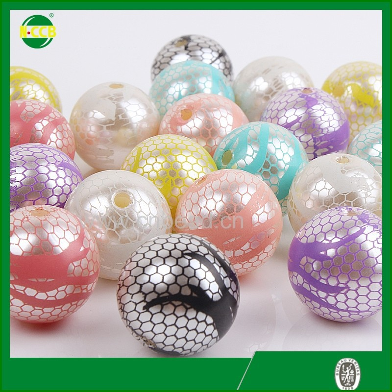 Alibaba-express white cream chunky jewelry beads round ball plastic pearl