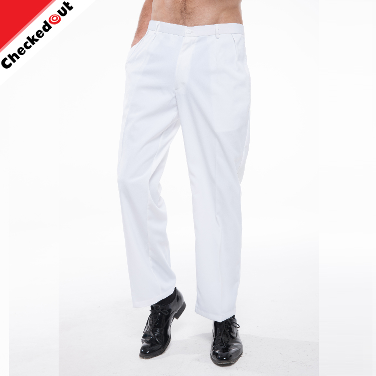 Factory price custom high quality white hotel work wear trouser restaurant kitchen men chef suit pant