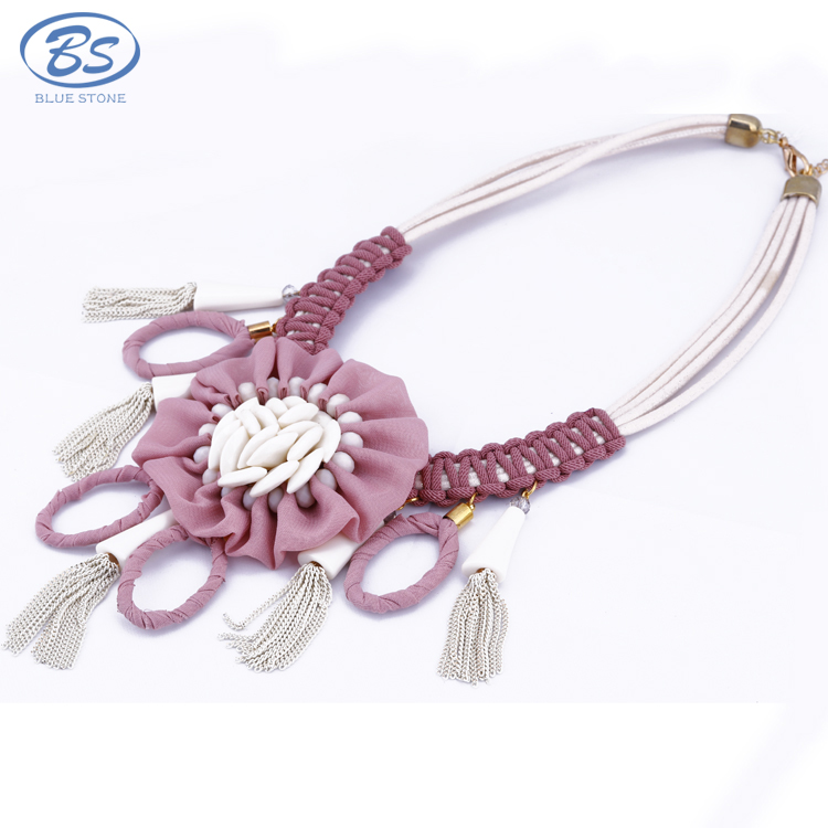 MX0066Z hoop leather tassel handmade pink Chiffon Flowers wedding alloy pendant silver chain choker statement necklace jewellery