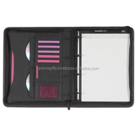 Faux Leather 4 Ring Binder File Folder/ Ring Binder With CD Compartment
