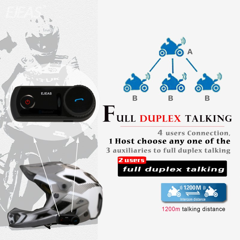 2016 EJEAS E2 4 person 1200m talking wholesale mini helmets motorcycle bluetooth intercom