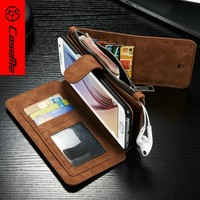 High quality for samsung galaxy s7 edge case leather, magnetic stand flip wallet style cover case