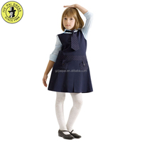 2018 New Design Girls School Uniforms Cheap Price Pinafore Grey Cotton School Pinafore Dress