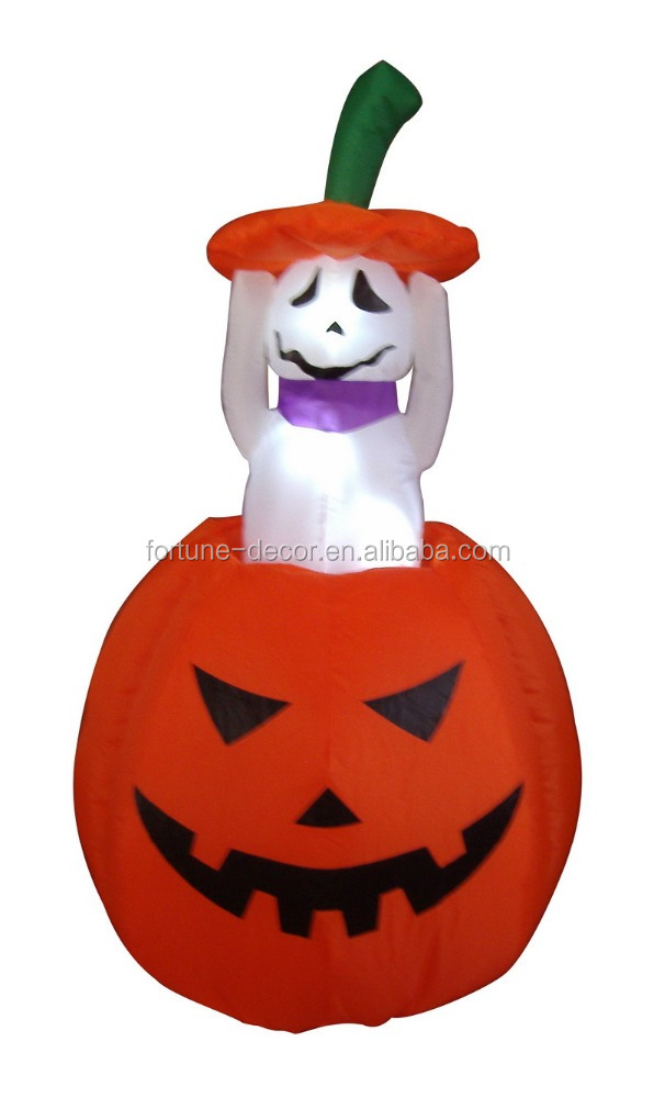 120cm/4ft air blown pumpkin and white ghost for halloween inflatable