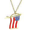 Custom Gold Enamel Necklace Designs 2017 Zinc Alloy American USA Flag The Stars And Stripes Necklace