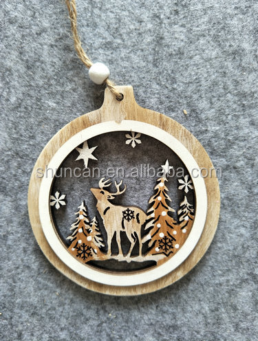 Wooden xmas decor ornaments hang deer tree laser cut painted tree hanger