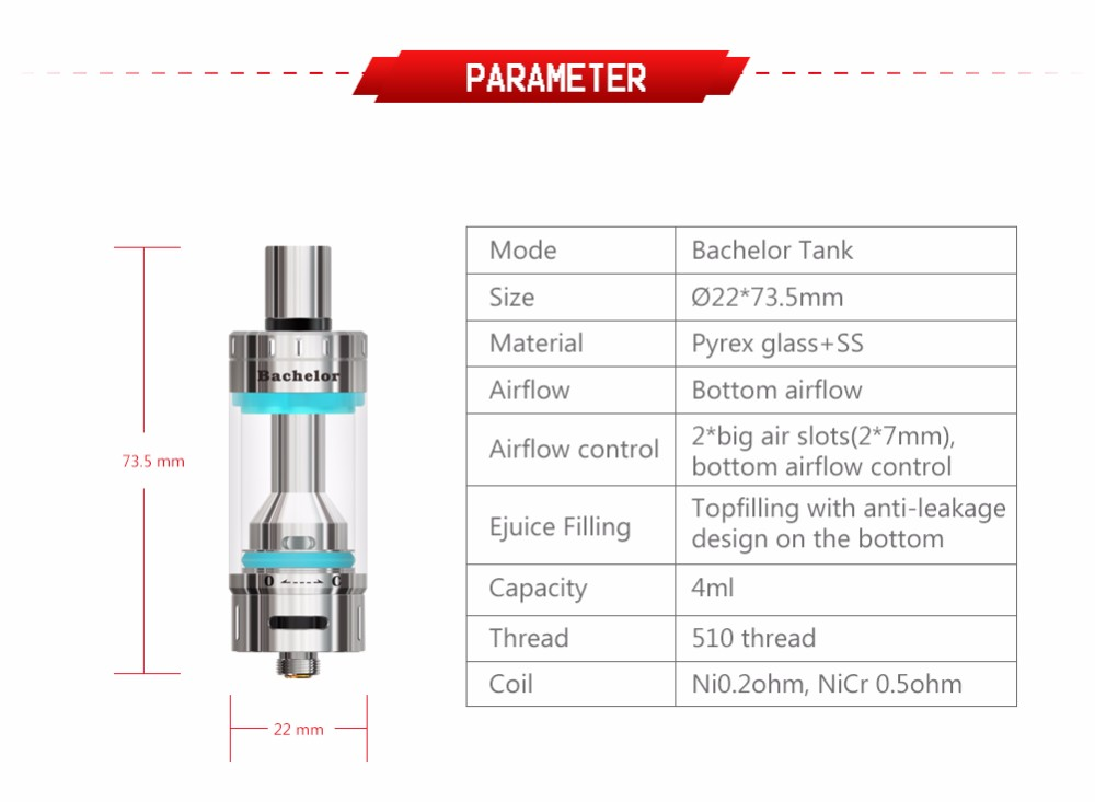 Newest original Ehpro tank E cigarette Atomizer Vape with Top Airflow Bachelor II tank atomizer