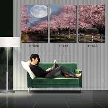Beautiful Scenery Oil Painting 3 Piece Cherry Blossom and Moon Landscape Wall Art