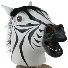 Deluxe Quality Rubber Zebra Horse Mask /Adult Latex Full Head Animal Mask