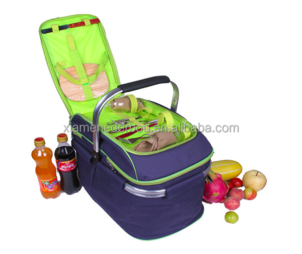 Picnic Basket Set Insulated Tote with Cooler Compartment and Complete Flatware