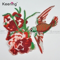 Fashion red bird beautiful flower hat embroidery desing WEF-535