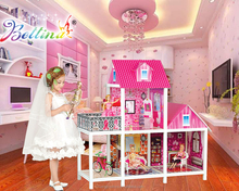 2017 Hotselling Bettina Doll House Set with Three Dolls&Funiture&Garden 39 Inches Tall